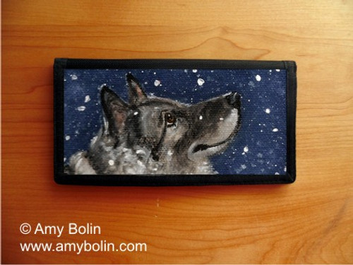 """Senja's Snow Day"" Norwegian Elkhound Checkbook Cover"