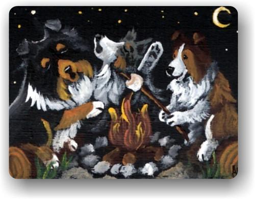 """Shelties Around The Campfire"" Blue Merle, Sable, Tri Color Sheltie Magnet"