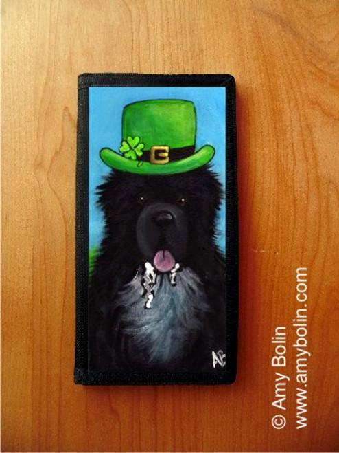 """A Big, Wet Irish Kiss"" Irish Spotted Newfoundland Checkbook Cover"