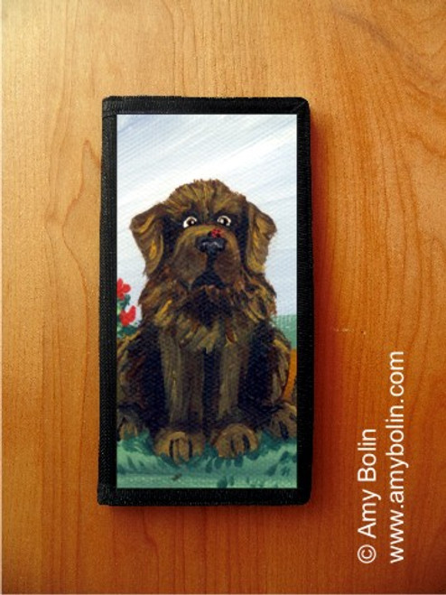 """""""A Little Visitor"""" Brown Newfoundland Checkbook Cover"""