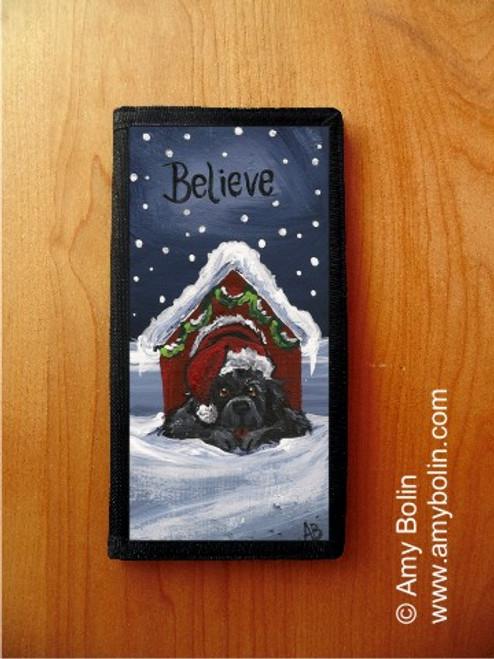 """Believe"" Black Newfoundland Checkbook Cover"