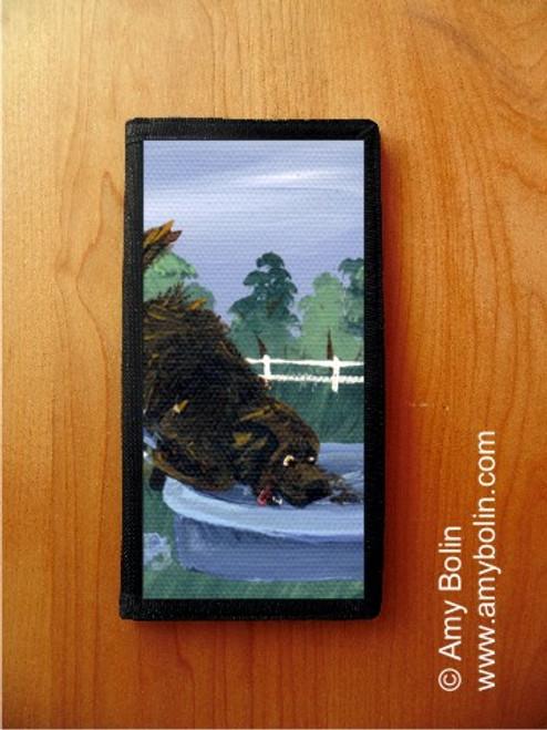 """Diggin' It' Brown Newfoundland Checkbook Cover"