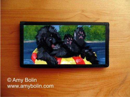 """""""Dog Days"""" Black Newfoundland Checkbook Cover"""