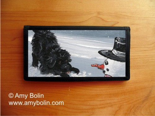 """My Snowy Friend"" Black Newfoundland Checkbook Cover"
