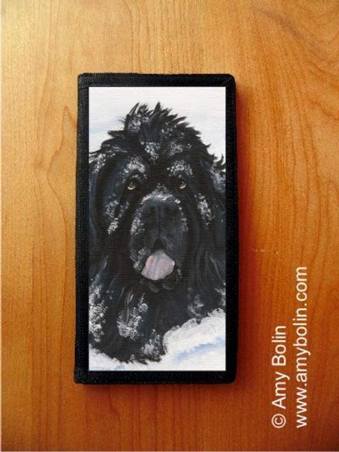"""Scarlet's Snow Day"" Black Newfoundland Checkbook Cover"