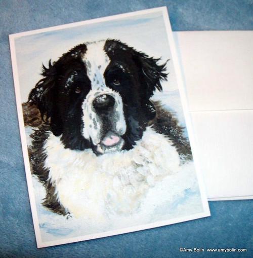 """Charlie's Snow Day"" Saint Bernard Note Cards"