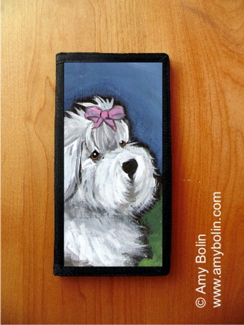 """""""All Gussied Up"""" Old English Sheepdog Checkbook Cover"""