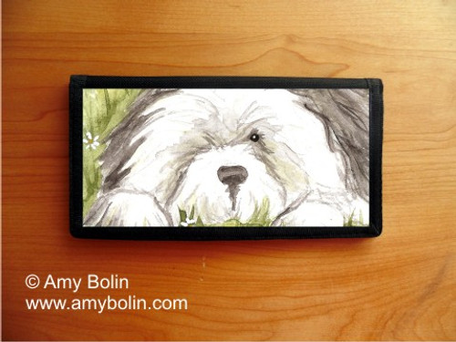 """""""Sheepie In The Daisies"""" Old English Sheepdog Checkbook Cover"""
