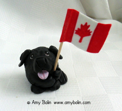 """""""Love of Country"""" PUDGIE! · Black Newfoundland comes with American & Canadian flags · Amy Bolin · MINIATURE!  Sculpture Figurine"""