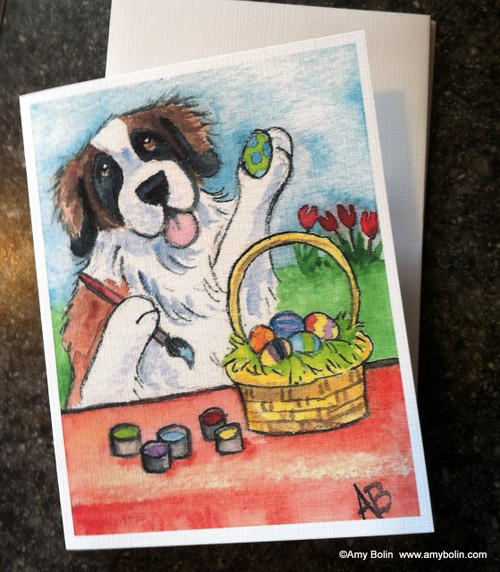 """Easter Egg Artist"" Saint Bernard Note Cards"