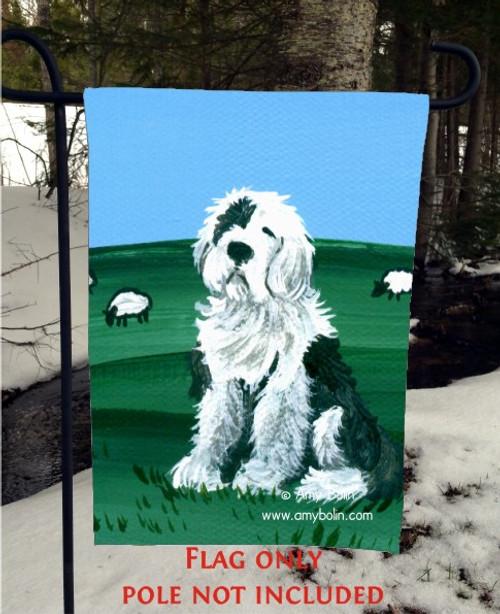 """""""Sheepdog"""" Old English Sheepdog Garden Flag"""
