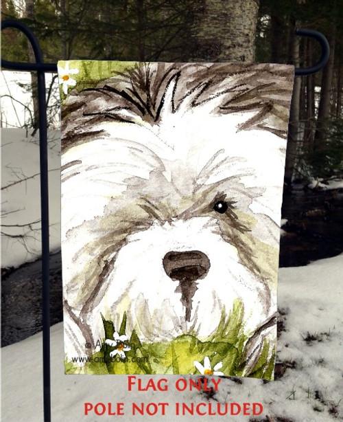 """Sheepie In The Daisies"" Old English Sheepdog Garden Flag"