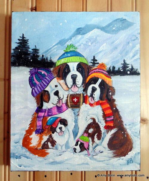 """Generations"" Saint Bernard dogs Original ART Acrylic Painting on Canvas 8"" by 10"""