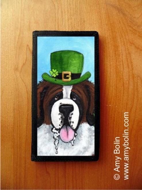 """""""A Big Wet Irish Kiss"""" Saint Bernard Checkbook Cover"""
