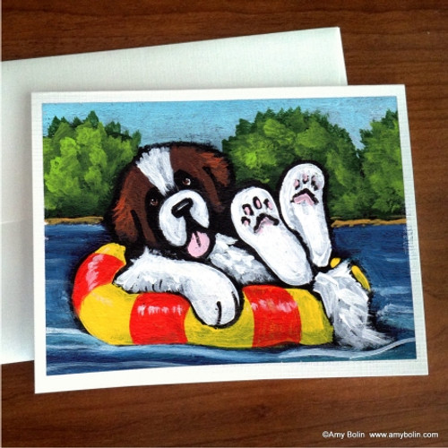 """Just Chillin'"" Saint Bernard Note Cards"
