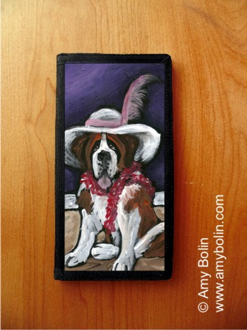 """""""All Dressed Up With Nowhere To Go"""" Saint Bernard Checkbook Cover"""