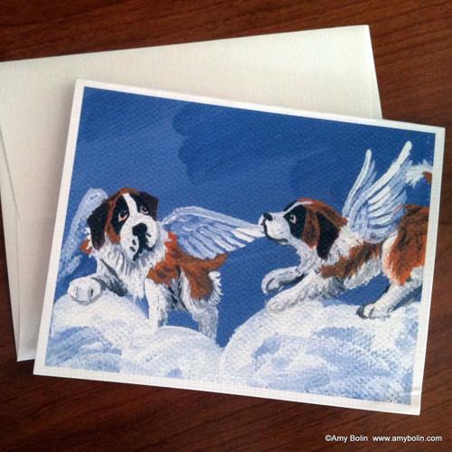 """""""Little Angels"""" Saint Bernard Note Cards"""