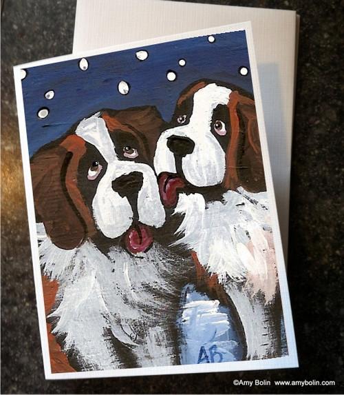 """""""Little Kiss"""" Saint Bernard Note Cards"""