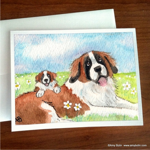 """Mommy & Me"" Saint Bernard Note Cards"