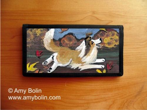 """A Perfect Fall Day"" Sable Shetland Sheepdog Checkbook Cover"