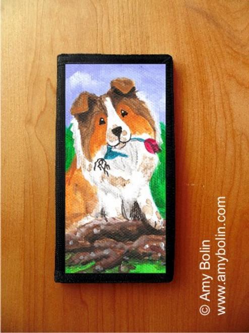 """""""Little Gardener"""" Sable Shetland Sheepdog Checkbook Cover"""