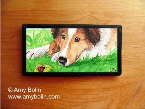 """Sable Pup"" Sable Shetland Sheepdog Checkbook Cover"