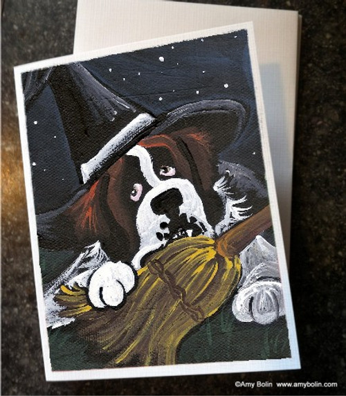 """""""Halloween: Not So Wicked Witch"""" Saint Bernard Note Cards"""