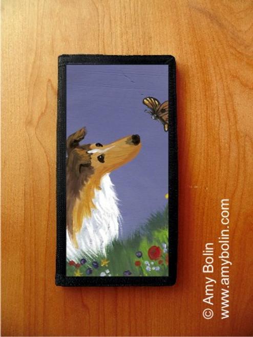 """Summer's Simple Pleasures"" Sable Shetland Sheepdog Checkbook Cover"