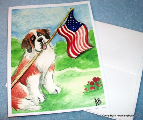 """Proud To Be American"" Saint Bernard Note Cards"