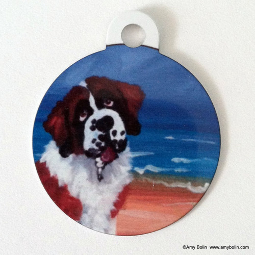 """A Day At The Beach"" Saint Bernard Double Sided Pet ID Tag"