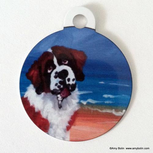 """A Day At The Beach"" Saint Bernard Double Sided Pet ID Tag"