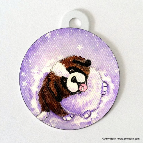"""A Taste Of Winter"" Saint Bernard Double Sided Pet ID Tag"