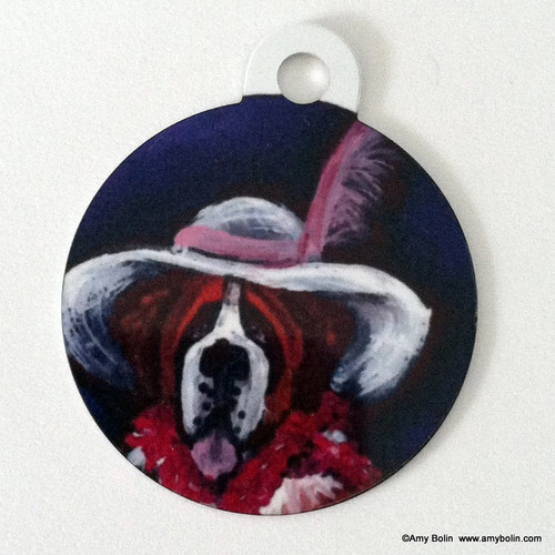 """""""All Dressed Up With Nowhere To Go"""" Saint Bernard Double Sided Pet ID Tag"""