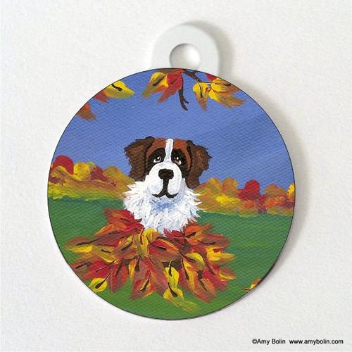 """Autumn's Simple Pleasures 3"" Saint Bernard Double Sided Pet ID Tag"