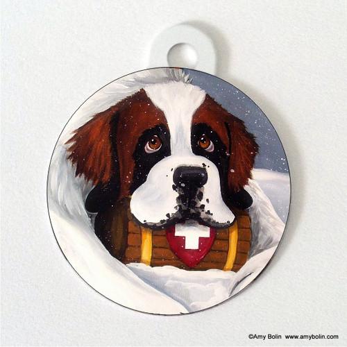 """Breaktime"" Saint Bernard Double Sided Pet ID Tag"