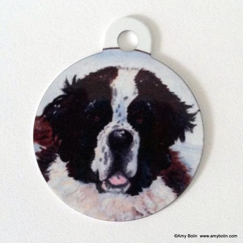 """Charlie's Snow Day"" Saint Bernard Double Sided Pet ID Tag"