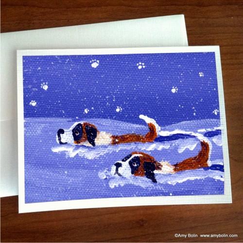 """Saint Deep In The Snow"" Saint Bernard Note Cards"