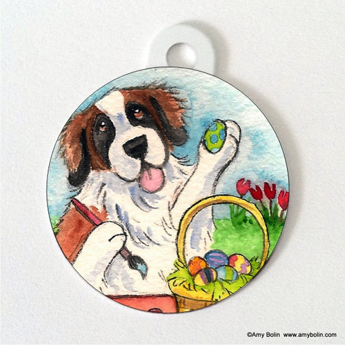 """Easter Egg Artist"" Saint Bernard Double Sided Pet ID Tag"