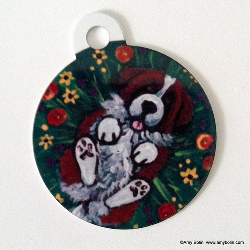 DOUBLE SIDED PET ID TAG ·  SPRING FEVER · SAINT BERNARD · AMY BOLIN