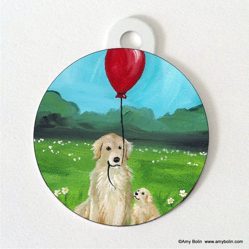 """""""A Golden Afternoon"""" Golden Retriever Double Sided Pet ID Tag"""