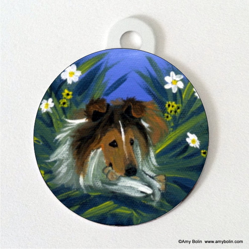 """A Secret Treat"" Sable Shetland Sheepdog Double Sided Pet ID Tag"