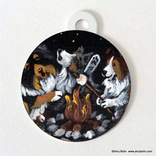 """""""Shelties Around The Campfire"""" Blue Merle, Sable, Tri Color Shetland Sheepdog Double Sided Pet ID Tag"""