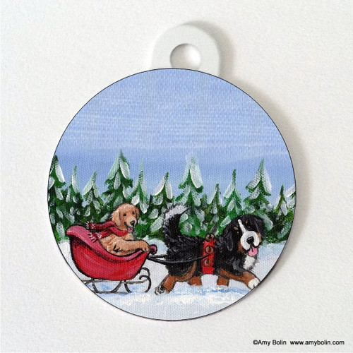 """A Wintry Ride"" Bernese Mountain Dog & Golden Retriever Double Sided Pet ID Tag"