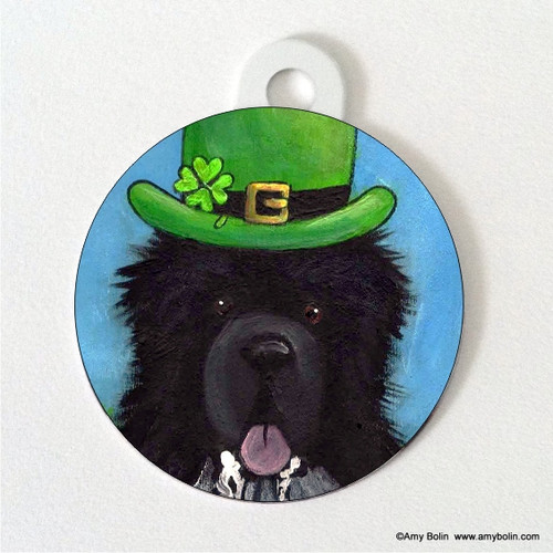 """A Big, Wet Irish Kiss"" Irish Spotted Newfoundland Double Sided Pet ID Tag"