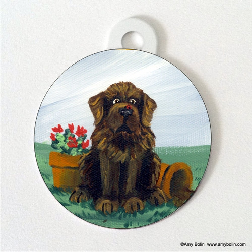 """A Little Visitor"" Brown Newfoundland Double Sided Pet ID Tag"