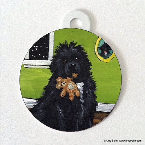 """""""Bedtime Buddies"""" Irish Spotted Newfoundland Double Sided Pet ID Tag"""