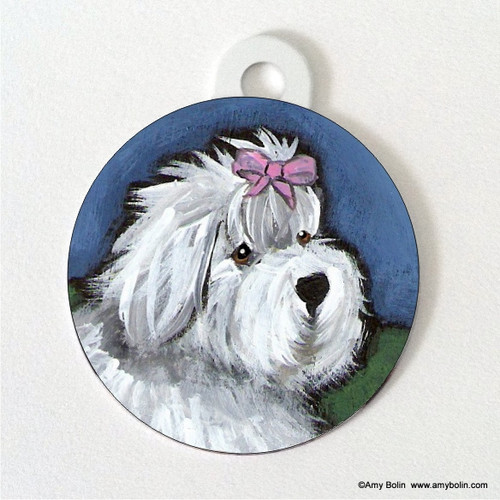 """""""All Gussied Up"""" Old English Sheepdog Double Sided Pet ID Tag"""