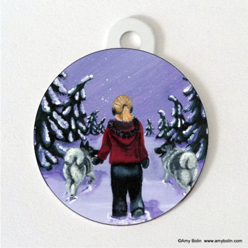 """""""A Snowy Walk"""" Norwegian Elkhound Double Sided Pet ID Tag"""
