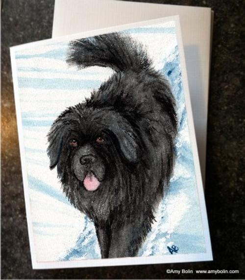 """Snow Shadow"" Black Newfoundland Note Cards"