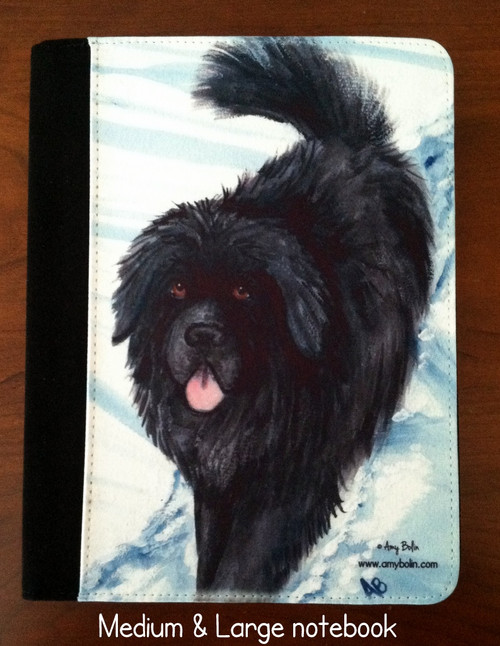 """""""Snow Shadow"""" Black Newfoundland Notebooks (several sizes available)"""
